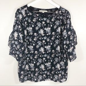 Loft Navy Blue Floral Top